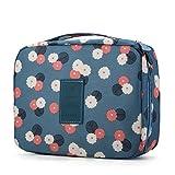 Rusty Bob - Kosmetiktasche für Reisen | Große Kulturtasche | Kulturbeutel | Waschbeutel | Kulturtasche Bad-Tasche | Damen und Herren - Blau mit Blumen