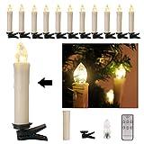 40er Weinachten LED Kerzen Kabellos Weihnachtskerzen Christbaumkerzen Dimmen Flackern Baumkerze-Set,Kerzen Lichtfarbe warmweiß
