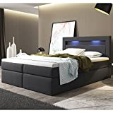 ArtLife Boxspringbett Memphis mit Bettkästen 180 x 200 cm (dunkelgrau) – Premium-Doppelbett mit...