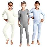 Thermo Unterwäsche Set (Hemd + Hose) für Mädchen und Jungen - warm, weich und atmungsaktiv - 3...