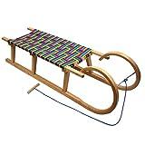 BAMBINIWELT Holzschlitten Hörnerrodel mit Zugseil, Sitzfläche aus Kunstfasern im Regenbogendesign,120cm