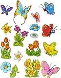 7 tlg. Set: Fensterbilder - Schmetterlinge & Blumen - statisch haftend - Sticker Fenstersticker /...