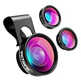 VicTsing 3 in 1 Clip On Fisheye Fischauge Objektiv, smartphone linsen set(180°Fisheye Objektiv,...