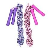 COM-FOUR 2x Springseil in pink und lila, Sprungseil für Kinder, individuell verstellbar, 500 cm (02...