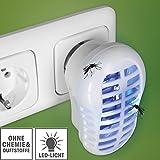 Indoor Insektenfalle, (2 Stück) Insektenabwehr, Insektenschutz, Mückenabwehr, Mückenschutz,Steckdose, gegen Mücken, Fliegen & Co, LED, ohne Chemie, ohne Duftstoffe