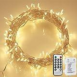 100 LED Lichterkette mit Fernbedienung und Timer, 8 Modi Dimmbar Outdoor Weihnachtslichterkette...