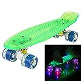 Ancheer Mini-Cruiser-Skateboard 55cm Skateboard mit oder ohne LED Deck,alle mit LED Leuchtrollen,mit...