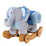 Labebe Baby Schaukelpferd Holz mit Räder, 2-in-1 Schaukeltier Elefant, Schaukelpferd Blau für Baby...