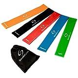 Set aus 5 Fitnessbändern - Gymnastikbänder / Loops für Yoga, Pilates, Reha-Sport Physio-Gymnastik - Für Männer & Frauen - Hergestellt aus natürlichem Latex