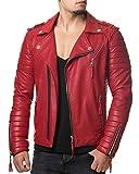 Burocs MR18-4 Herren Kunst-Lederjacke Biker-Jacke Schwarz Rot Camouflage S-XXL, Größe:M, Farbe:Rot