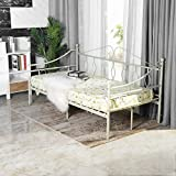 Aingoo Tagesbett Metallbett mit Bettrahmen für Schlafzimmer Wohnzimmer Balkon (Weiß, 100 x 200 cm)