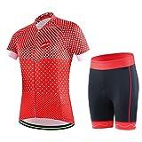 GWELL Damen Fahrradtrikot Set Fahrradbekleidung Atmungsaktiv Fahrrad Trikot Kurzarm + Radhose mit 3D...