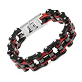 Yorwell Herren Armband Edelstahl Armband Fahrradkette Armreif Herren Rot Schwarz Armband...