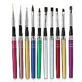 Anself 10-teilig Nagel Pinsel Set für UV-Gel- und Acrylfingernägel