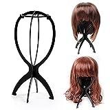 Ardisle schwarze Perückenständer, zusammenklappbar Perücke Ausstellungsstand Mannequin Dummy-Kopf-Hut-Kappen-Haar-Halter-Speicher Folding