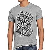 style3 DJ Tape Herren T-Shirt kassette 3D turntable retro, Größe:M;Farbe:Grau meliert