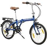 Galano 20 Zoll Parklane LE Camping Klapp Fahrrad 6 Gang Shimano Licht Klapprad Faltrad, Farbe:blau