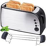 TZS First Austria - gebürsteter Edelstahl 4 Scheiben Toaster 1500W mit Krümelschublade Sandwich...