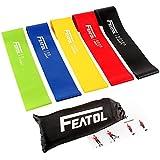 Featol Fitnessbänder 5 Set, Gymnastikband für Fitness Crossfit Pilates Yoga und Physiotherapie, Widerstandsbänder training für Ganzkörper