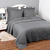 Gesteppte Tagesdecke 220x240 cm Grau mit 2 Kissenbezüge für Doppelbett Schlafzimmer, moderner...