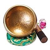 Original Tibetische Klangschale 12cm. Klangschalen Set mit Klöppel und Klangschalenkissen in...
