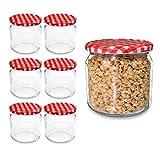 6 Stück Einmachgläser mit Schraubdeckel, kleine Sturzgläser 210ml, Marmeladengläser, Einmachglas...