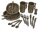 Campinggeschirr 26 Teile im Set aus bruchfestem Material Oliv 26 tlg. BlackSnake®