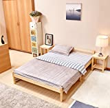 GreenForest Bettgestell Einzelbett Massivholzbett aus Kiefer Jugend und Erwachsene Bettgestell, Weiß 90*190cm