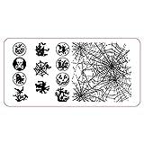 Halloween Stamping Schablone Spinnennetz Hexe Zombie Stempelplatte Nailart (Halloween 2)
