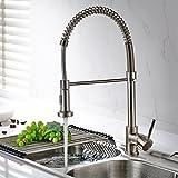 Timaco Wasserhahn Küche Einhandmischer für Küchen Spüle Gebürsteter Nickel Geschirrbrause...