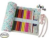 Cre-go Federmappe Schlamperrolle Mäppchen Bleistiftkasten für 72 farbige stifte (anmerkung:keine Farbstifte)-Countryside,72 Holes