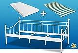 Bett inkl. Matratze und Rollrost 90x200cm. Klassisch zeitloses Metallbett mit Qualitäts-...