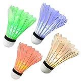 Led Badminton Bälle, Ohuhu Federbälle Brandt in Dark Nacht, Federball Beleuchtung für Outdoor en Indoor Sportsaktivitäten