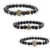 JOVIVI 3x Lava-Armband Damen Herren Reiki-Energietherapie Armreif 8mm Lava Beads...