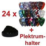 SONDERANGEBOT 24 x Plektrum 3 verschiedene Stärken + Pickholder Black