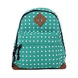 DonDon kleiner Kinderrucksack für Mädchen und Jungen mit Sternen grün 26 x 25 x 10 cm