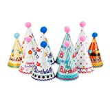 NUOLUX Partyhüte,Party Kegel Hüte mit Pompons für Kinder, 10pcs