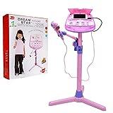 Kinder Karaoke Mikrofon Verstellbarer Standfuß mit externer Musikfunktion & Blinkleuchten von Wishtime