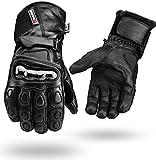Winter Wasserdichte Leder handschuhe Motorrad Knöchel schutz - Schwarz, XXL