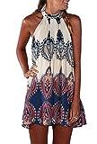 iMELY Damen Kleider Trägerkleid Langshirt gedruckt Sommerkleid Strandkleid- Gr. XL, Weiß