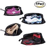 Schuhtaschen- Reisezubehör YAMIU 4-Pack (2 Größen) Wasserdichtes Nylon mit Reißverschluss für Männer & Frauen (Schwarz)