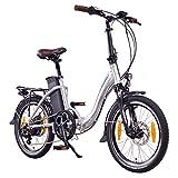NCM Paris 20 Zoll E-Faltrad E-Bike, 36V 250W Motor, 15Ah 540Wh Li-Ion Akku, silber