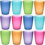 idea-station NEO Kunststoff-Becher mehrweg 250 ml 12 Stück, bunt, farbig, stapelbar auch als Wasser-Gläser, Cocktail-Gläser einsetzbar, Party-Becher, Plastik-Becher sind bruchsicher, unzerbrechlich, Farbe:12 St. / bunt