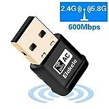 Elekele Mini USB Wlan Adapter, USB Wifi Adapter 2.4GHz/5.8GHz Dual Band 600Mbit/s Wireless USB Adapter Nano für Windows 10/8.1/8/7/XP/Vista/MAC OS/Linux 2.6