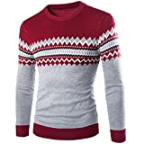 Sunshey weich Herren Slim-fit Strickpullover Norweger Pullover Rundhalskragen modisch Optik mit...
