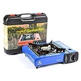Camping Gaskocher 2,5KW (Blau) + Koffer + 8 Kartuschen von DeLuxStyle