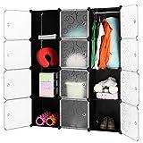 LANGRIA Stufenregal 12-Kubus Regalsystem Kleiderschrank Garderobenschrank für Kleidung, Schuhe,...