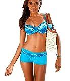 AHOOME Damen Bademode Bikini-Sets Push-up Gepolstert Drucken Mit Shorts(Blue,M)