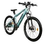 EASYBIKE 26 Zoll E-Bike E-MTB Elektrofahrrad Pedelec E-Mountainbike Elektro-Bike BLAU für Damen Herren 25 km/h