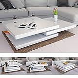 Deuba Couchtisch Hochglanz weiß | 360° drehbar | Cube Design | modern | 80 x 80 cm -...